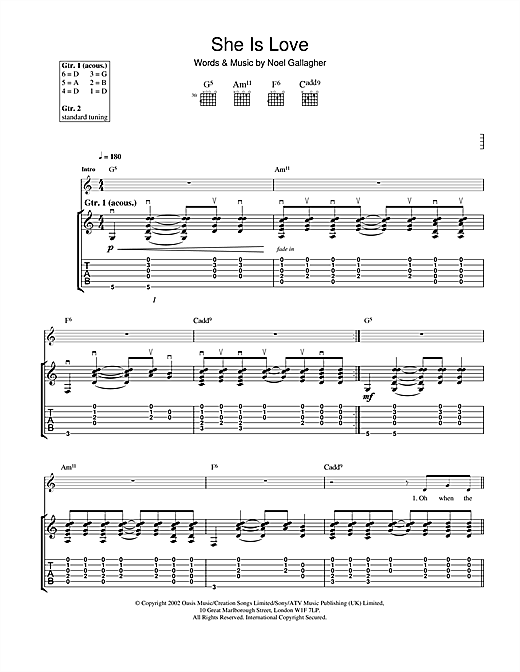 Oasis She Is Love sheet music notes and chords. Download Printable PDF.
