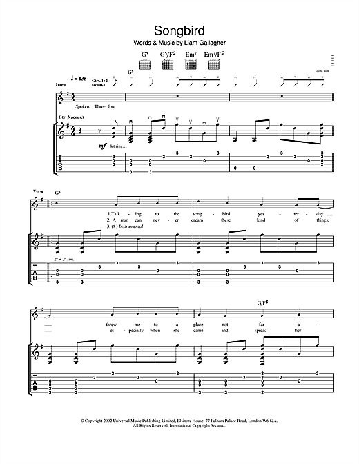 Oasis Songbird sheet music notes and chords. Download Printable PDF.
