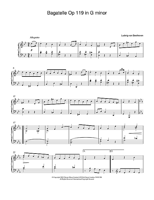 Ludwig van Beethoven Bagatelle In G Minor, Op. 119, No. 1 sheet music notes and chords. Download Printable PDF.