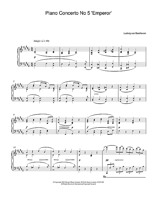 Ludwig van Beethoven Piano Concerto No.5 (Emperor), E Flat Major, Op.73, Theme from the 2nd Movement sheet music notes and chords. Download Printable PDF.