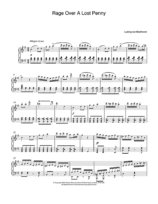 Ludwig van Beethoven Rondo A Capriccio (Rage Over A Lost Penny), Theme from Op.129 sheet music notes and chords. Download Printable PDF.