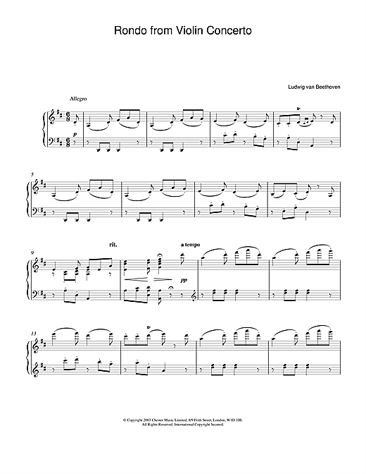 Ludwig van Beethoven Rondo From Violin Concerto In D Major Op. 62 sheet music notes and chords. Download Printable PDF.