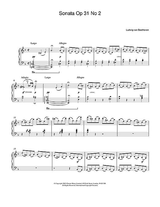 Ludwig van Beethoven Sonata Op.31 No.2 sheet music notes and chords. Download Printable PDF.