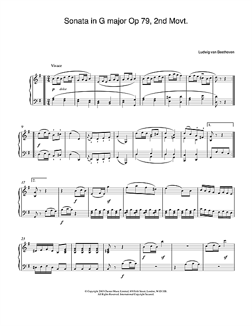 Ludwig van Beethoven Sonata in G major Op. 79, 2nd Movement sheet music notes and chords. Download Printable PDF.