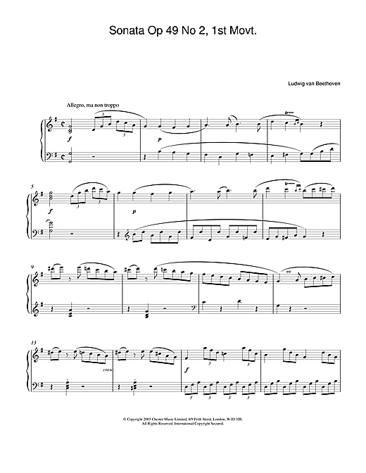 Ludwig van Beethoven Sonata Op. 49 No. 2, 1st Movement sheet music notes and chords. Download Printable PDF.
