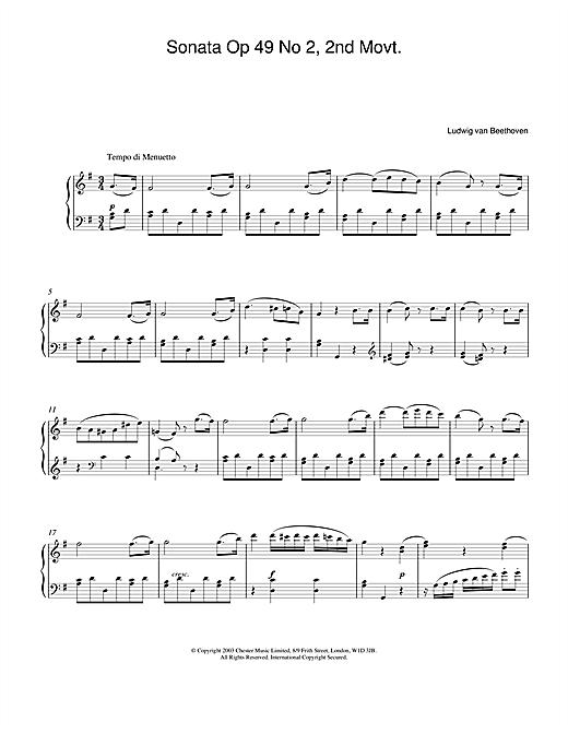 Ludwig van Beethoven Sonata Op. 49 No. 2, 2nd Movement sheet music notes and chords. Download Printable PDF.