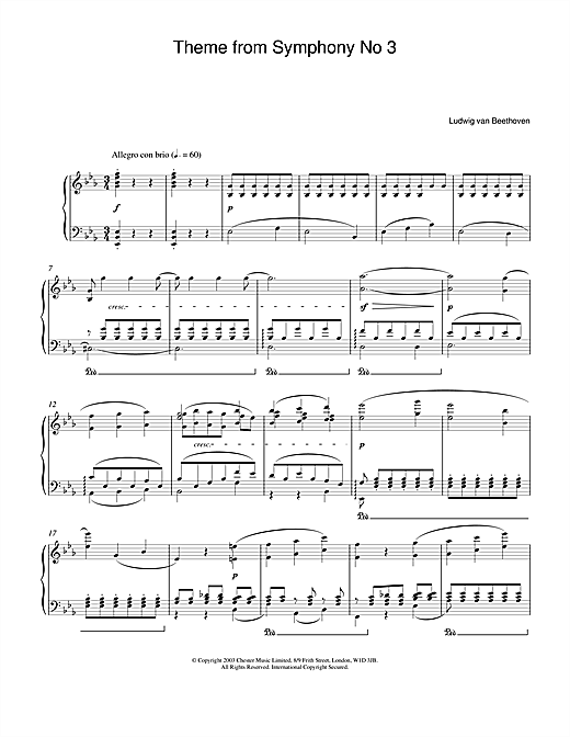 Ludwig van Beethoven Theme from Symphony No. 3 (Eroica), 1st Movement sheet music notes and chords. Download Printable PDF.