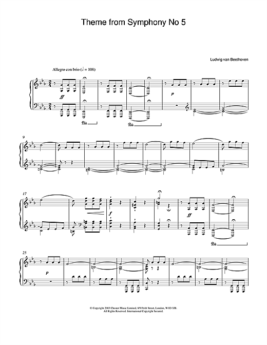 Ludwig van Beethoven Theme from Symphony No. 5, Op. 67 (1st Movement) sheet music notes and chords. Download Printable PDF.