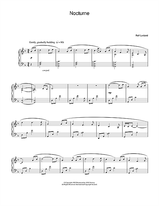 Rolf Løvland Nocturne sheet music notes and chords. Download Printable PDF.