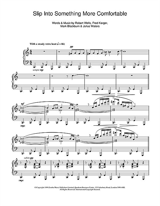 Kinobe Slip Into Something More Comfortable sheet music notes and chords. Download Printable PDF.