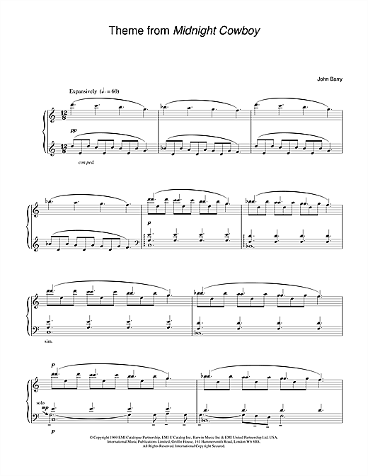 John Barry Theme from Midnight Cowboy sheet music notes and chords. Download Printable PDF.