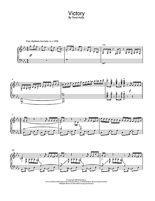 Tonci Huljic Victory sheet music notes and chords. Download Printable PDF.