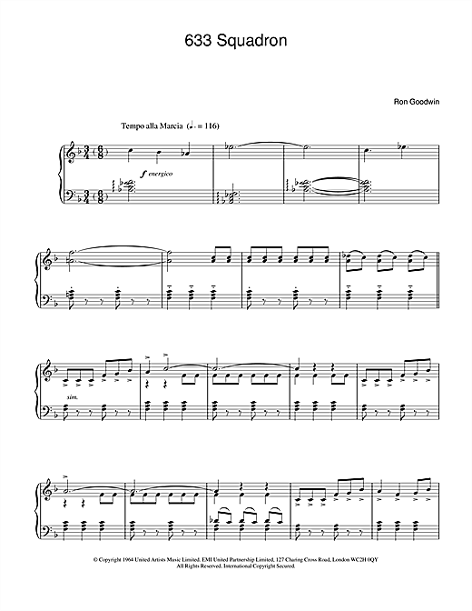 Ron Goodwin 633 Squadron sheet music notes and chords. Download Printable PDF.