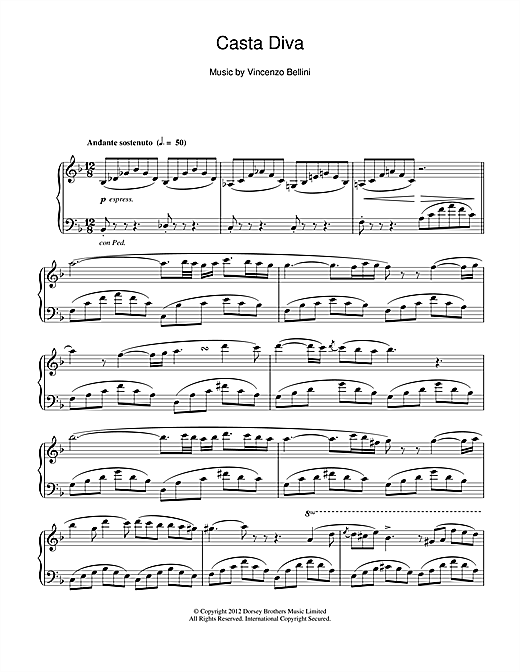 Vincenzo Bellini Casta Diva sheet music notes and chords. Download Printable PDF.