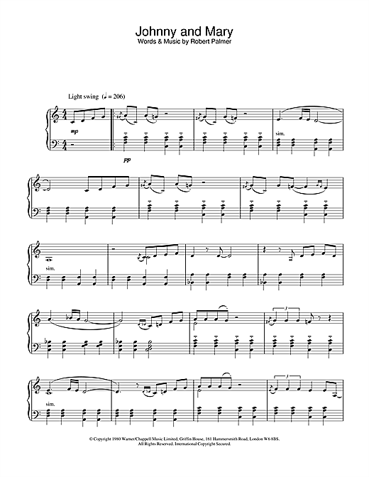 Robert Palmer Johnny and Mary sheet music notes and chords. Download Printable PDF.