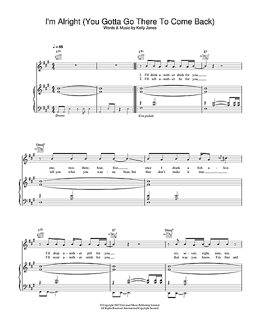 Stereophonics I'm Alright (You Gotta Go There To Come Back) sheet music notes and chords. Download Printable PDF.