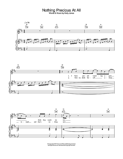 Stereophonics Nothing Precious At All sheet music notes and chords. Download Printable PDF.