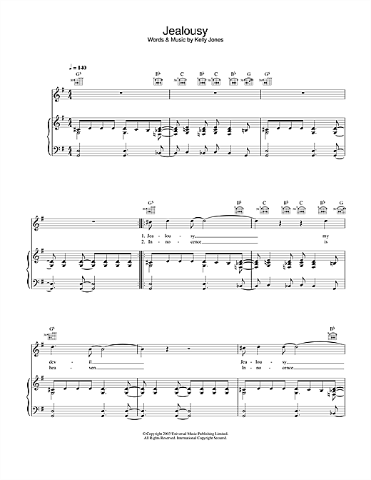 Stereophonics Jealousy sheet music notes and chords. Download Printable PDF.