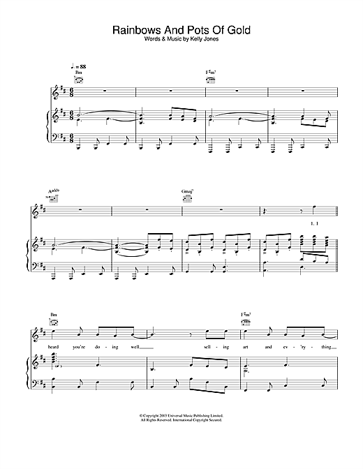 Stereophonics Rainbows And Pots Of Gold sheet music notes and chords. Download Printable PDF.