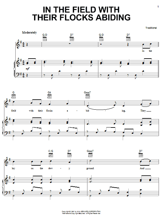 Traditional Carol In The Field With Their Flocks Abiding sheet music notes and chords. Download Printable PDF.