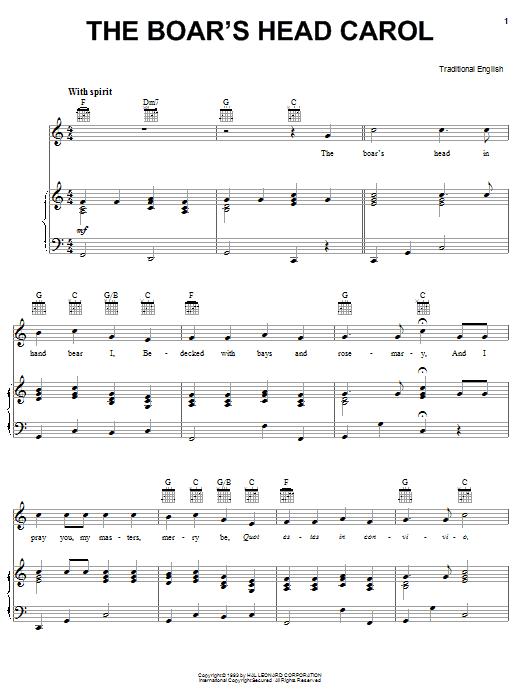 Traditional Carol Boars Head Carol sheet music notes and chords. Download Printable PDF.