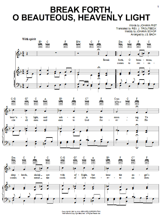 J.S. Bach Break Forth, O Beauteous, Heavenly Light sheet music notes and chords. Download Printable PDF.