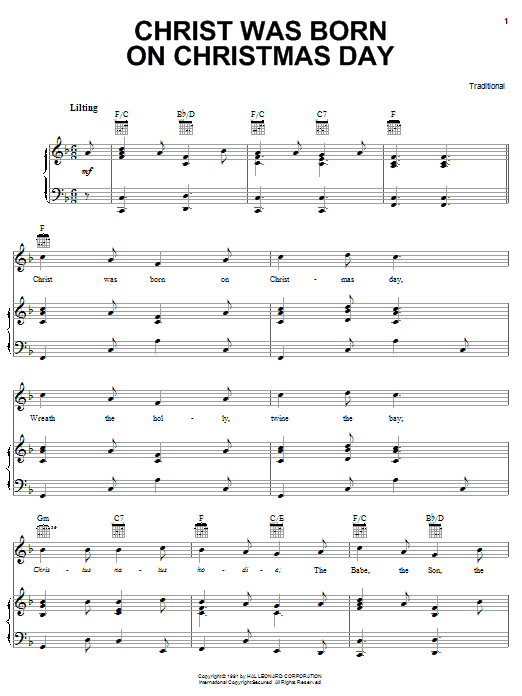 Traditional Carol Christ Was Born On Christmas Day sheet music notes and chords. Download Printable PDF.