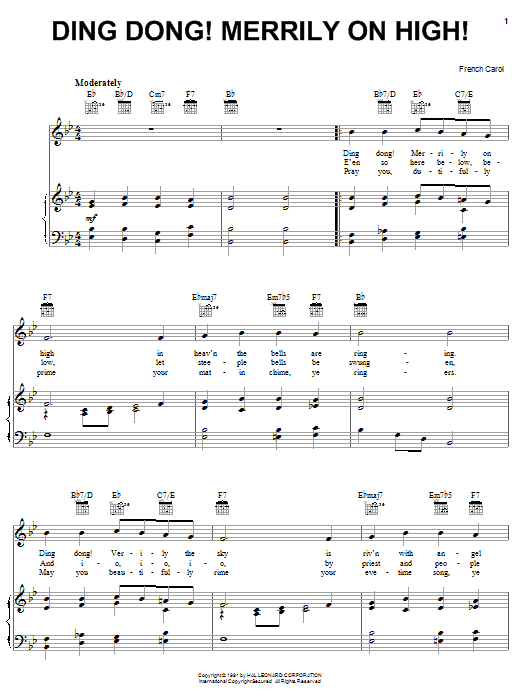 Traditional Carol Ding Dong! Merrily On High! sheet music notes and chords. Download Printable PDF.