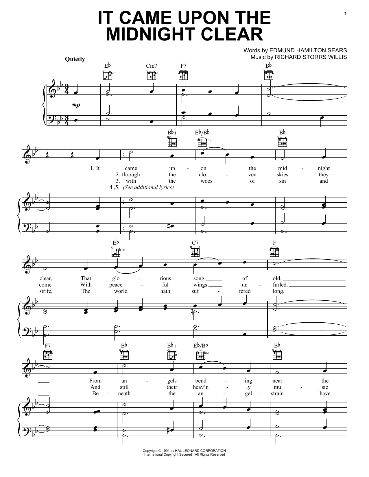 Edmund Hamilton Sears It Came Upon The Midnight Clear sheet music notes and chords. Download Printable PDF.