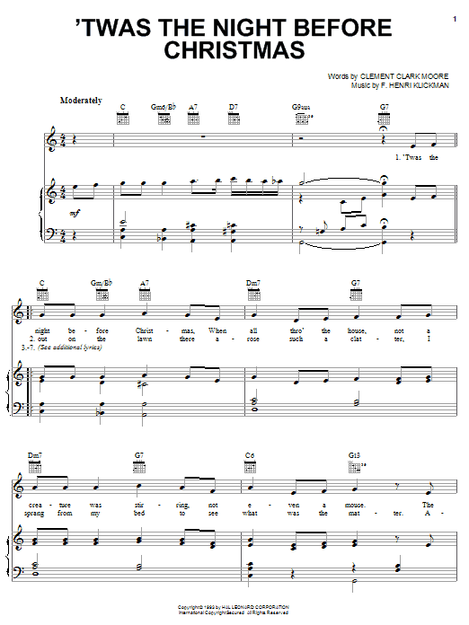 Clement Clark Moore 'Twas The Night Before Christmas sheet music notes and chords. Download Printable PDF.