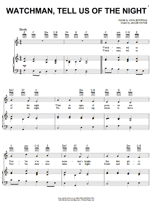 Traditional Carol Watchman, Tell Us Of The Night sheet music notes and chords. Download Printable PDF.