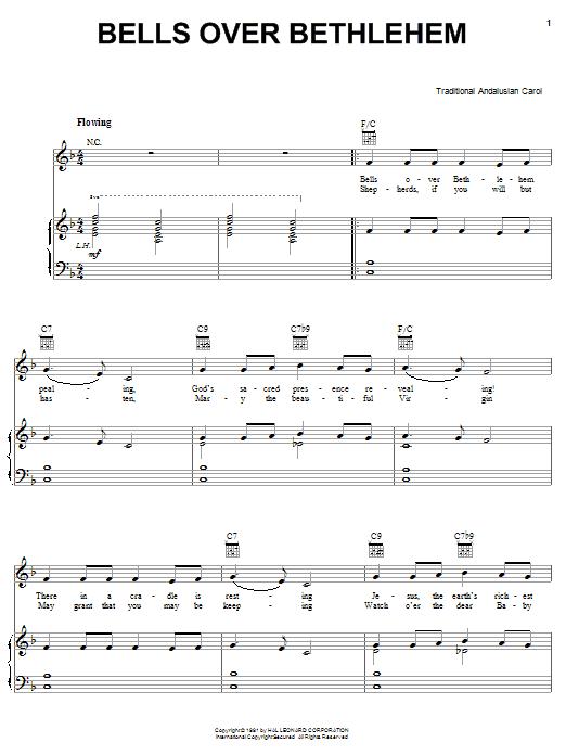 Traditional Carol Bells Over Bethlehem sheet music notes and chords. Download Printable PDF.