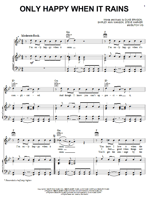 Garbage Only Happy When It Rains sheet music notes and chords. Download Printable PDF.