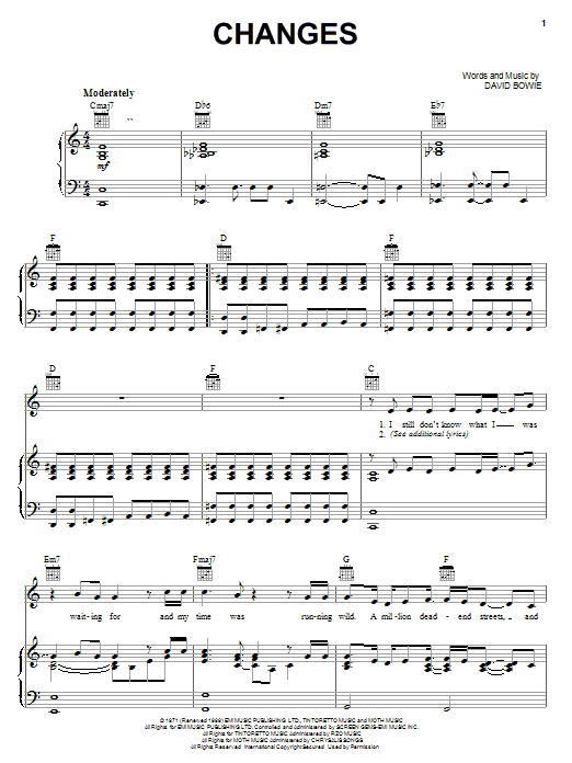 David Bowie Changes sheet music notes and chords. Download Printable PDF.