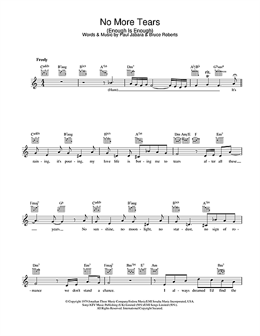Barbra Streisand & Donna Summer No More Tears (Enough Is Enough) sheet music notes and chords. Download Printable PDF.