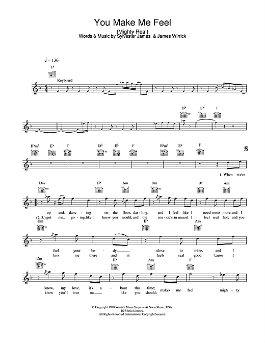 Sylvester/Jimmy Somerville You Make Me Feel (Mighty Real) sheet music notes and chords. Download Printable PDF.
