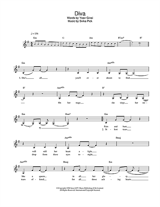 Dana International Diva sheet music notes and chords. Download Printable PDF.