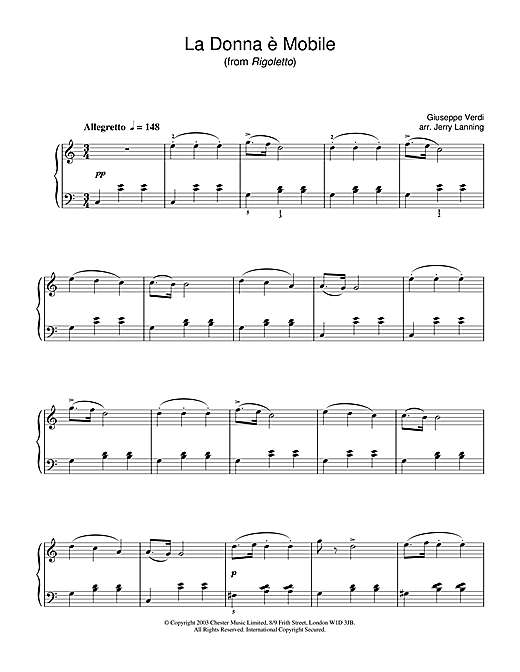 Giuseppe Verdi La Donna E Mobile (from Rigoletto) sheet music notes and chords. Download Printable PDF.