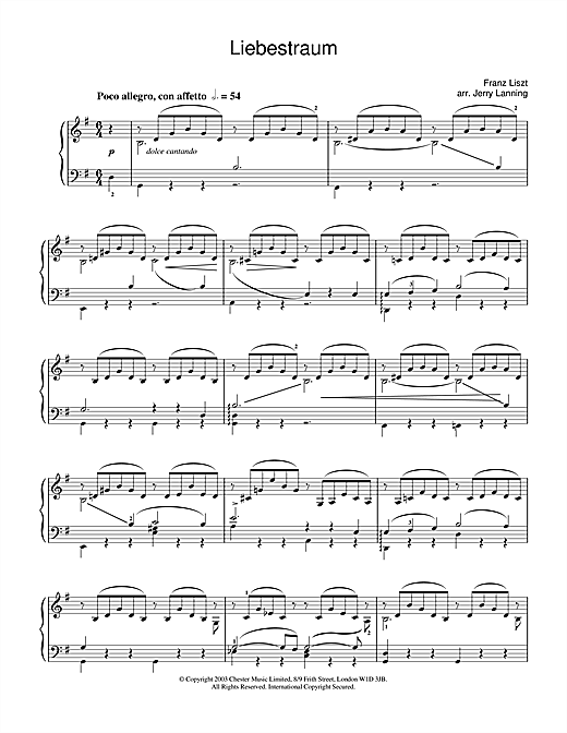 Franz Liszt Liebestraum No.3 (Dream Of Love) sheet music notes and chords. Download Printable PDF.