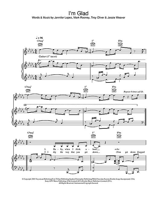 Jennifer Lopez I'm Glad sheet music notes and chords. Download Printable PDF.
