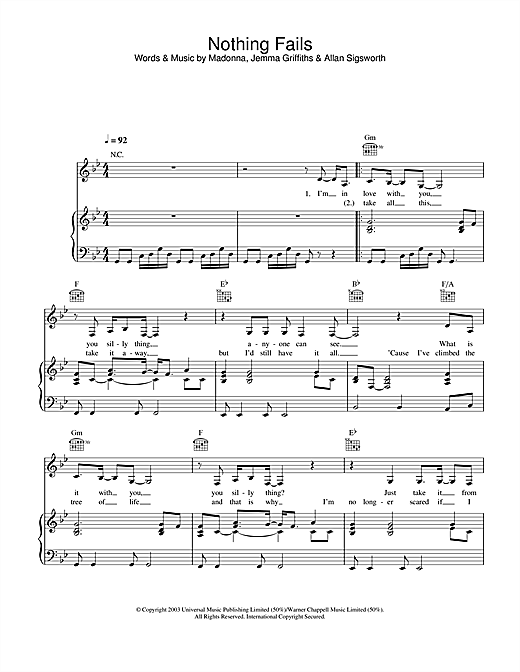 Madonna Nothing Fails sheet music notes and chords. Download Printable PDF.
