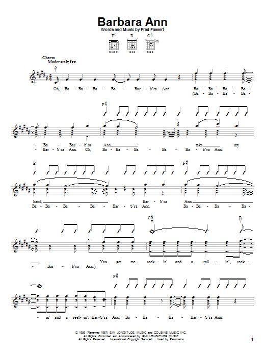 The Beach Boys Barbara Ann sheet music notes and chords. Download Printable PDF.