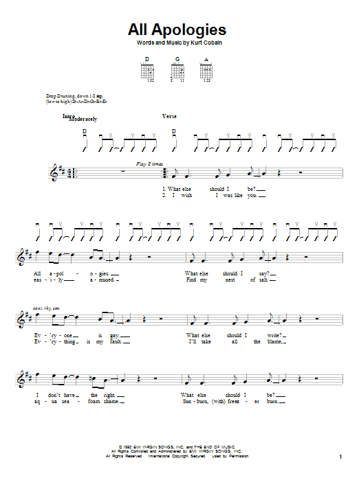 Nirvana All Apologies sheet music notes and chords. Download Printable PDF.