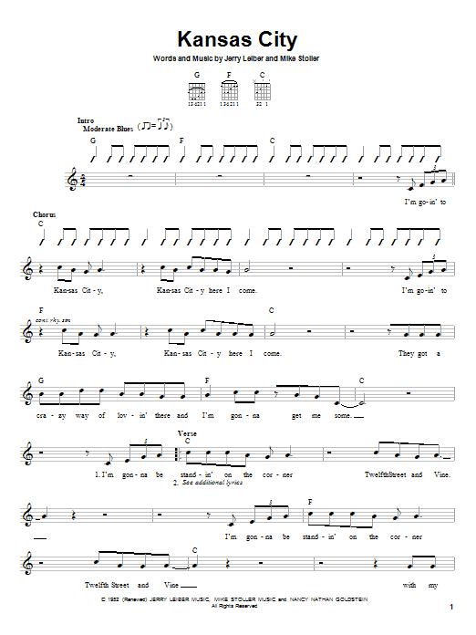 Wilbert Harrison Kansas City sheet music notes and chords. Download Printable PDF.