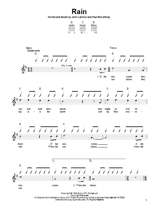 The Beatles Rain sheet music notes and chords. Download Printable PDF.