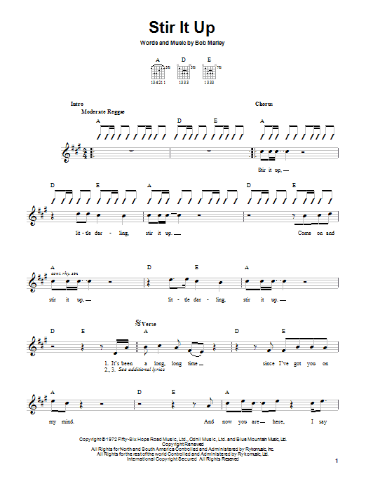 Bob Marley Stir It Up sheet music notes and chords. Download Printable PDF.
