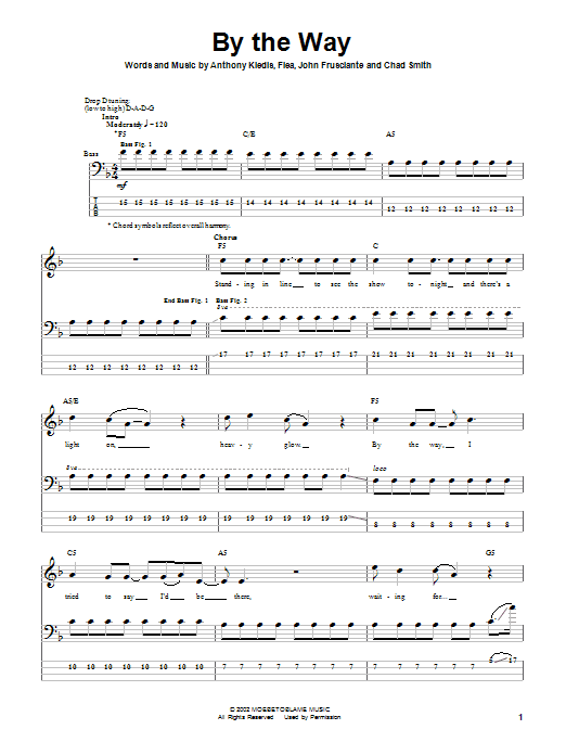 Red Hot Chili Peppers By The Way sheet music notes and chords. Download Printable PDF.