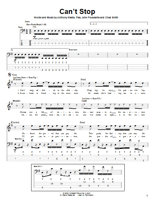 Red Hot Chili Peppers Can't Stop sheet music notes and chords. Download Printable PDF.