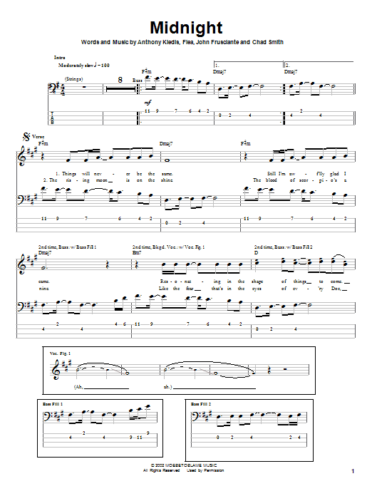 Red Hot Chili Peppers Midnight sheet music notes and chords. Download Printable PDF.