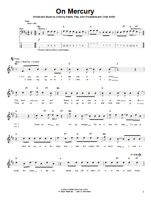 Red Hot Chili Peppers On Mercury sheet music notes and chords. Download Printable PDF.